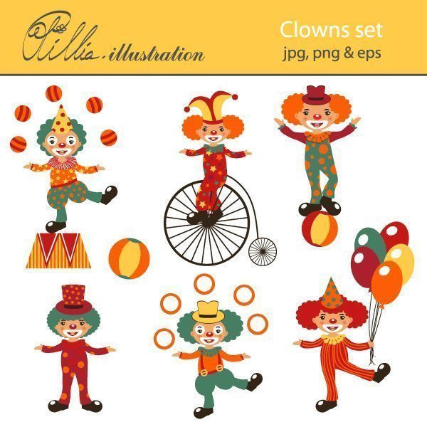 Clowns set  Olillia Illustration    Mygrafico