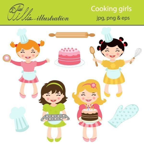Cooking girls clipart  Olillia Illustration    Mygrafico