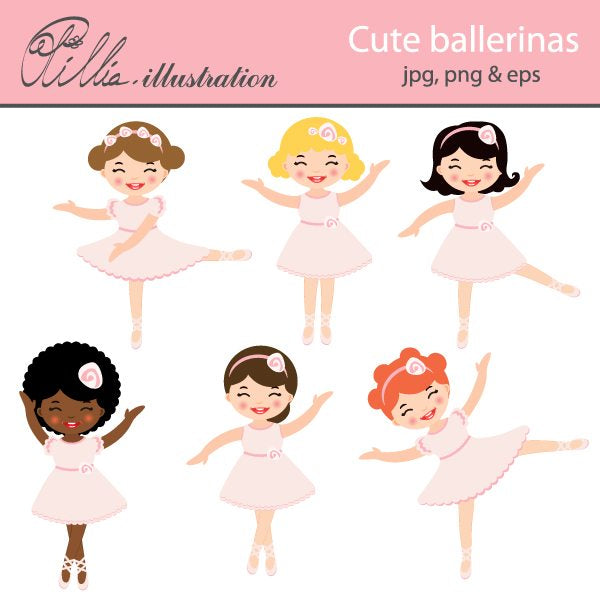 Cute Ballerinas  Olillia Illustration    Mygrafico