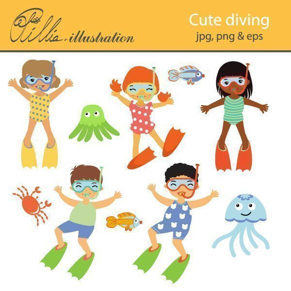 Cute diving  Olillia Illustration    Mygrafico