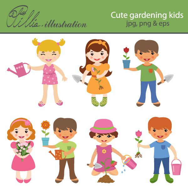 Cute gardening kids  Olillia Illustration    Mygrafico