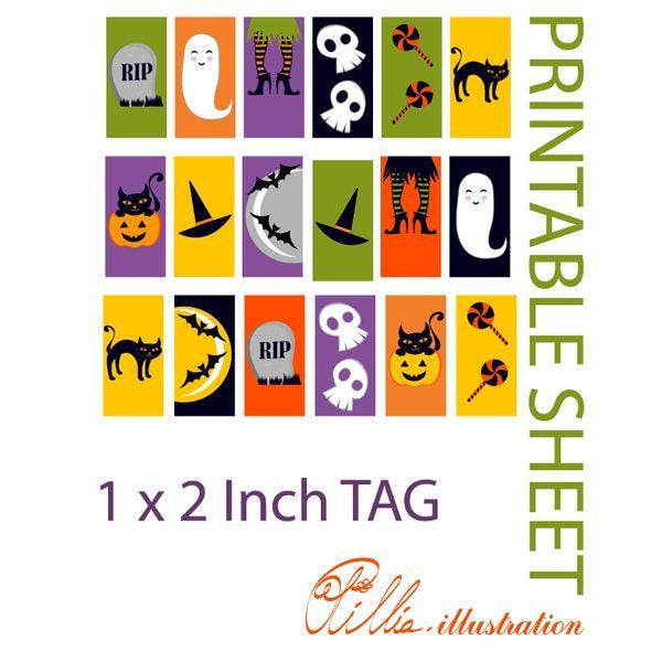 Cute Halloween 1x2 inch TAG printables  Olillia Illustration    Mygrafico