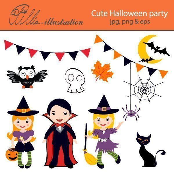 Cute Halloween party  Olillia Illustration    Mygrafico