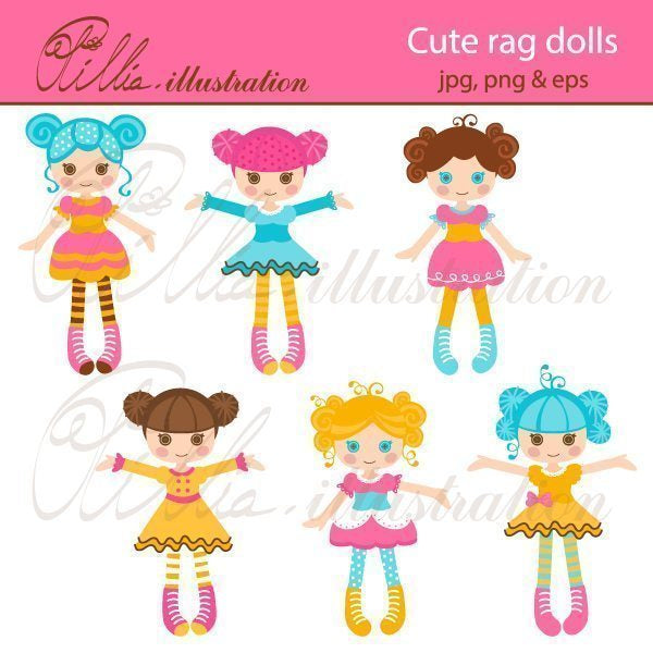 Cute rag dolls  Olillia Illustration    Mygrafico