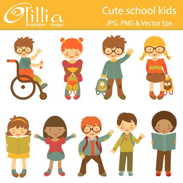 Cute school kids clipart  Olillia Illustration    Mygrafico