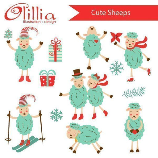 Cute sheeps  Olillia Illustration    Mygrafico