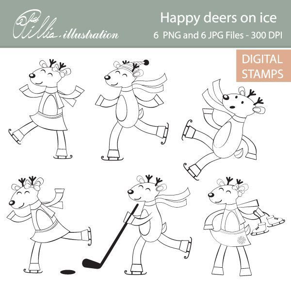 Deers on ice digital stamp  Olillia Illustration    Mygrafico