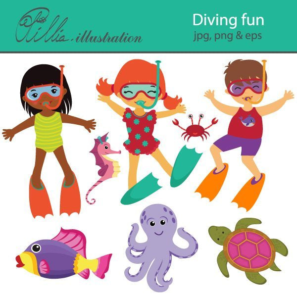 Diving fun clipart  Olillia Illustration    Mygrafico
