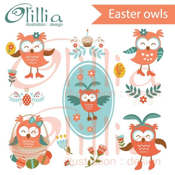 Easter owls clipart  Olillia Illustration    Mygrafico