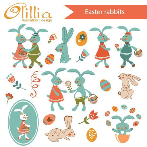 Easter rabbits set  Olillia Illustration    Mygrafico