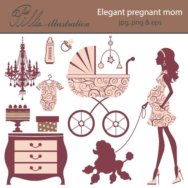Elegant pregnant mom  Olillia Illustration    Mygrafico