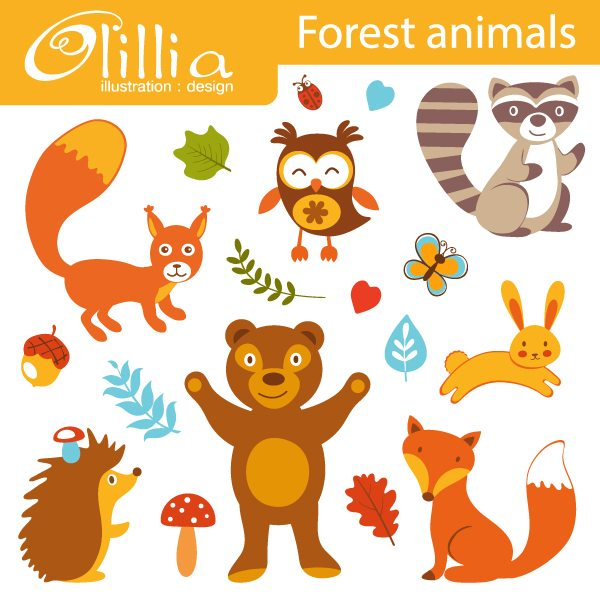 Forest animals clipart  Olillia Illustration    Mygrafico