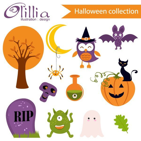 Halloween cute collection clipart  Olillia Illustration    Mygrafico