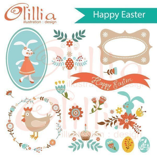 Happy Easter clipart  Olillia Illustration    Mygrafico
