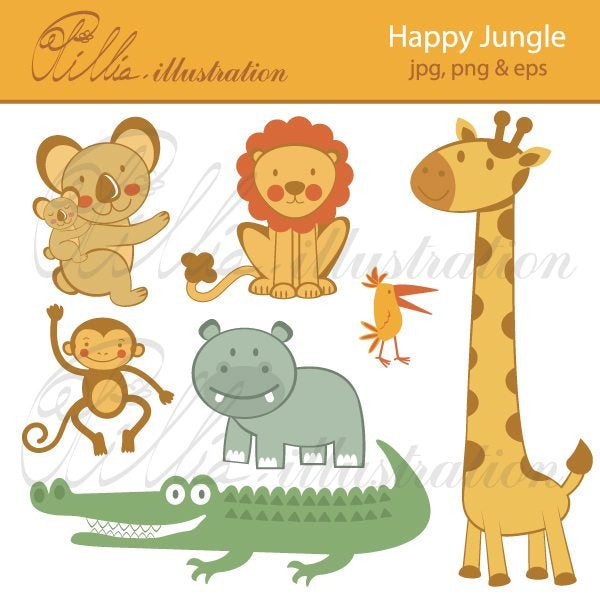 Happy Jungle  Olillia Illustration    Mygrafico