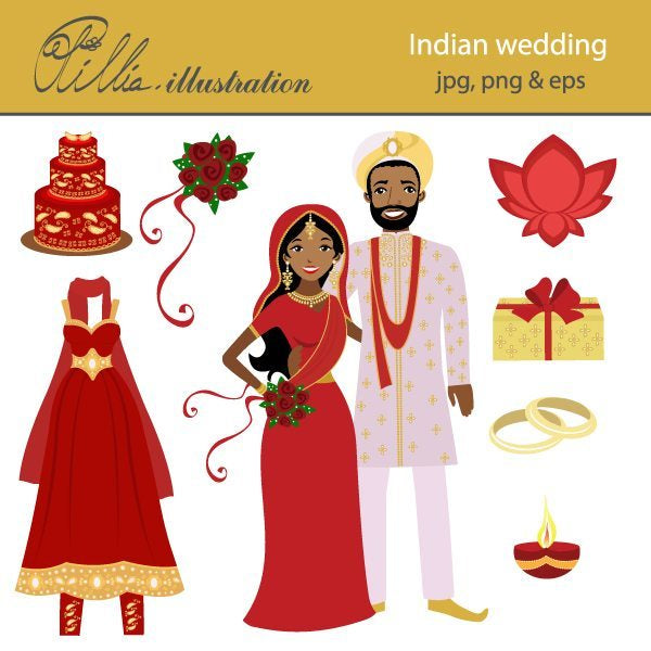 Indian Wedding  Olillia Illustration    Mygrafico