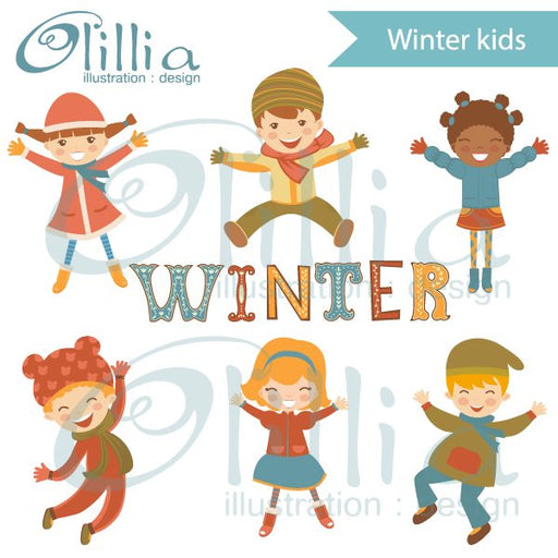 Jumping winter kids clipart  Olillia Illustration    Mygrafico