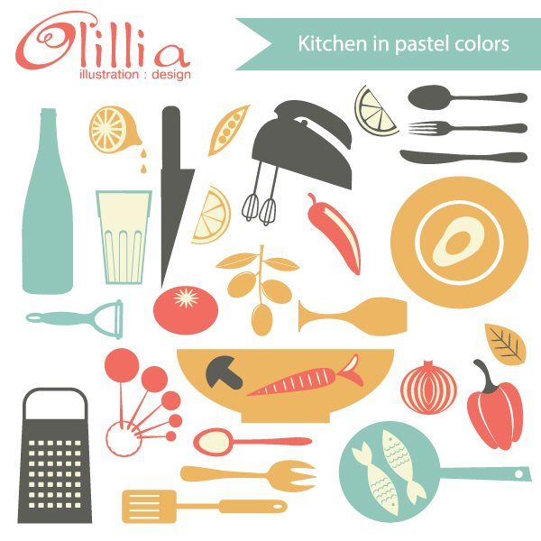 Kitchen in pastel colors set  Olillia Illustration    Mygrafico