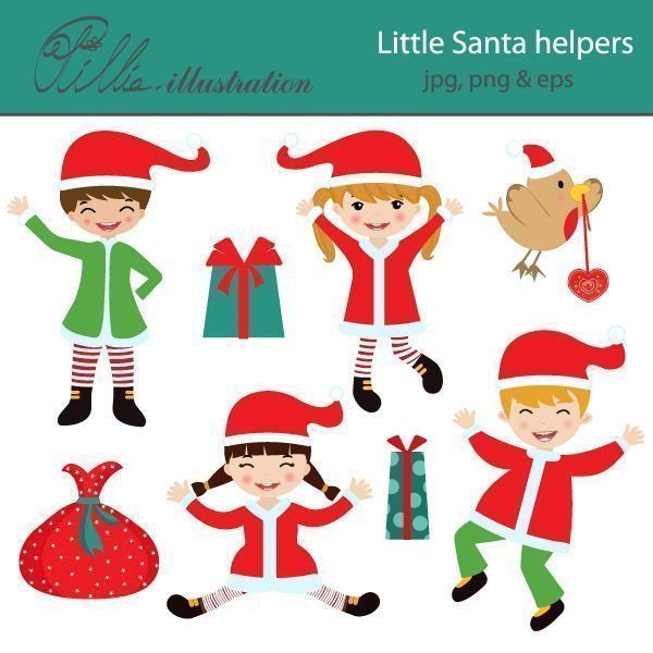 Little Santa helpers clipart  Olillia Illustration    Mygrafico