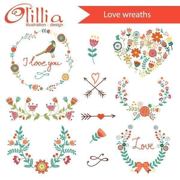 Love wreaths clipart  Olillia Illustration    Mygrafico