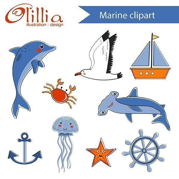 Marine_clipart  Olillia Illustration    Mygrafico