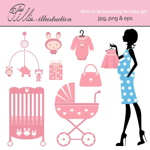 Mom to be expecting a babygirl clipart  Olillia Illustration    Mygrafico