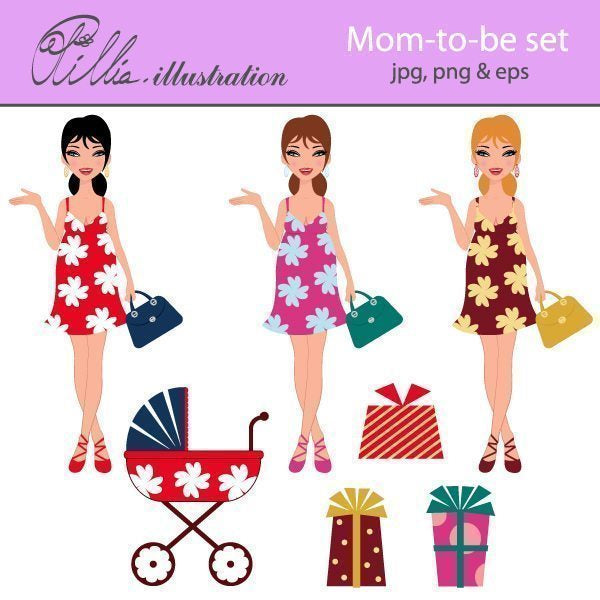 Mom-to-be set clipart  Olillia Illustration    Mygrafico