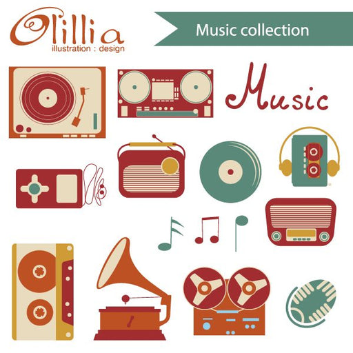 Music collection clipart  Olillia Illustration    Mygrafico