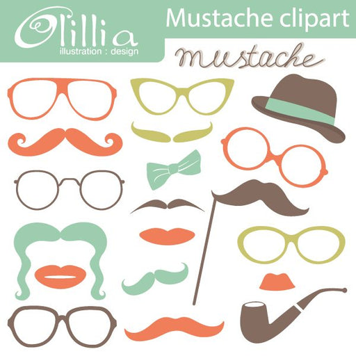 Mustache party clipart  Olillia Illustration    Mygrafico