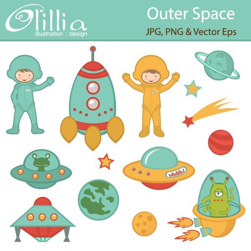 Outer space clipart  Olillia Illustration    Mygrafico