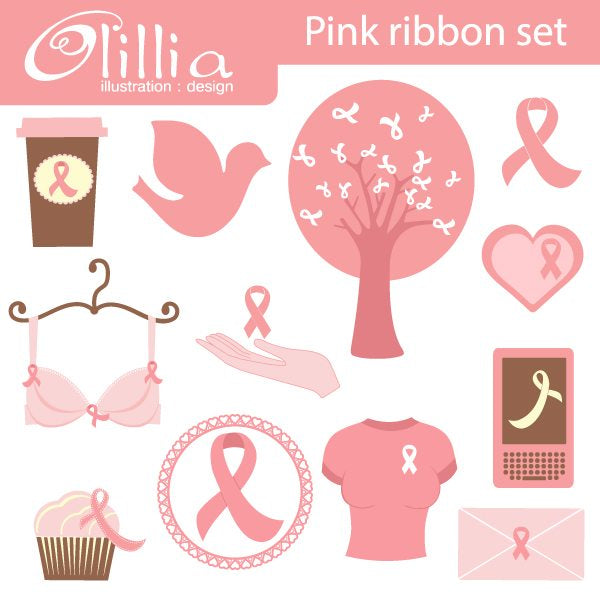 Pink Ribbon clipart  Olillia Illustration    Mygrafico