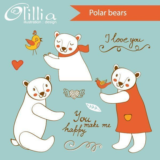 Polar bears set  Olillia Illustration    Mygrafico