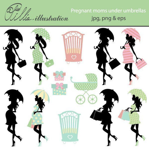 Pregnant moms under umbrellas  Olillia Illustration    Mygrafico