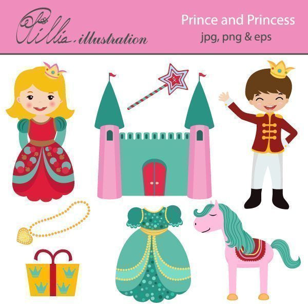 Prince and Princess clipart  Olillia Illustration    Mygrafico