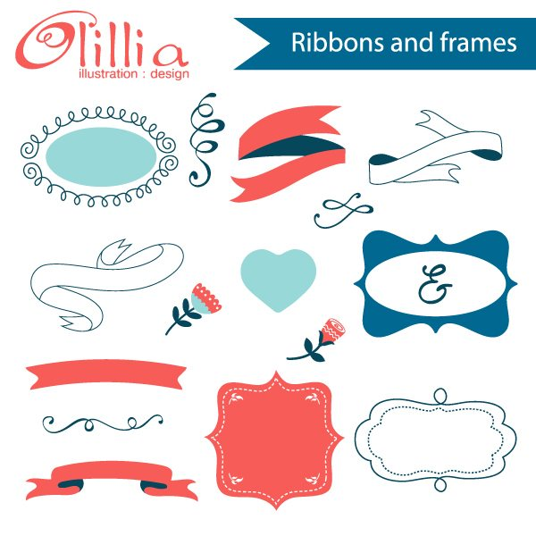 Ribbons and frames clipart  Olillia Illustration    Mygrafico