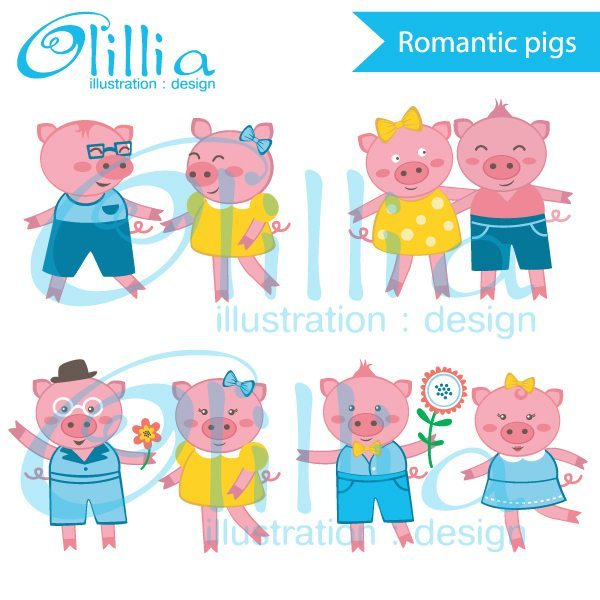 Romantic Pig Couples clipart  Olillia Illustration    Mygrafico