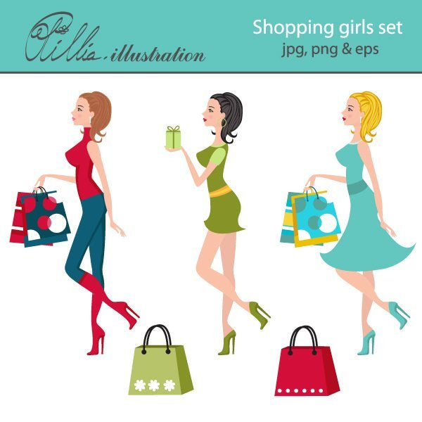 Shopping girls clipart  Olillia Illustration    Mygrafico