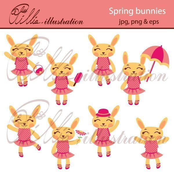 Spring bunnies clipart  Olillia Illustration    Mygrafico