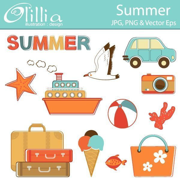 Summer clipart  Olillia Illustration    Mygrafico