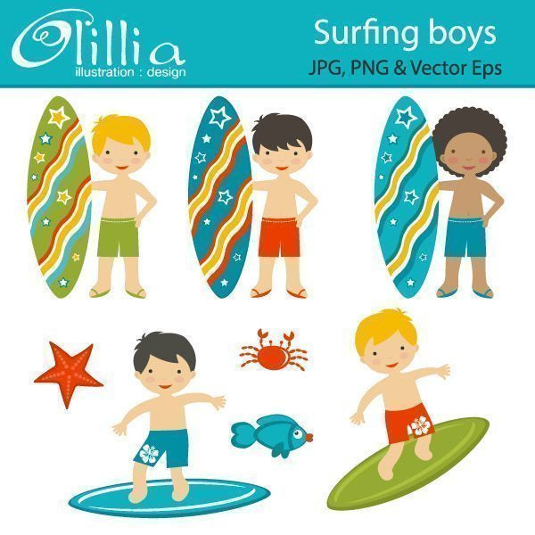 Surfing boys clipart  Olillia Illustration    Mygrafico