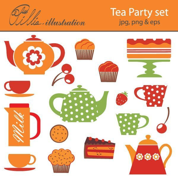 Tea Party Set  Olillia Illustration    Mygrafico