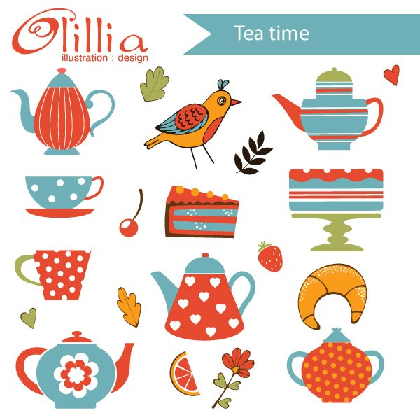 Tea time clipart  Olillia Illustration    Mygrafico