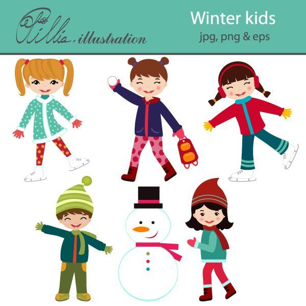 Winter kids clipart  Olillia Illustration    Mygrafico