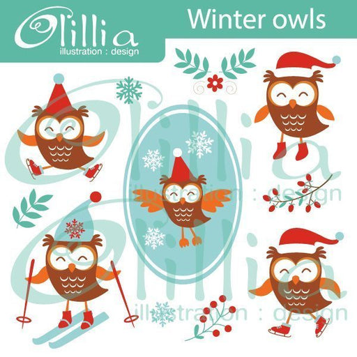 Winter owls clipart  Olillia Illustration    Mygrafico