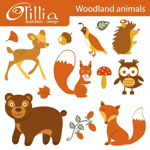 Woodland animals clipart  Olillia Illustration    Mygrafico