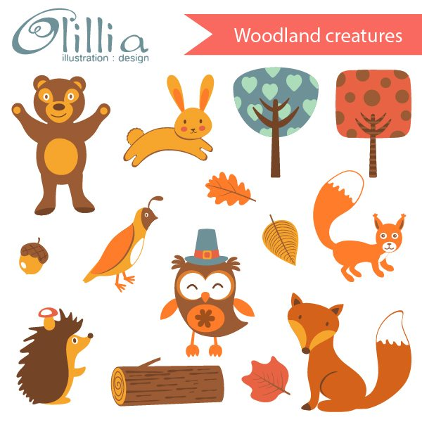Woodland_creatures_clipart  Olillia Illustration    Mygrafico