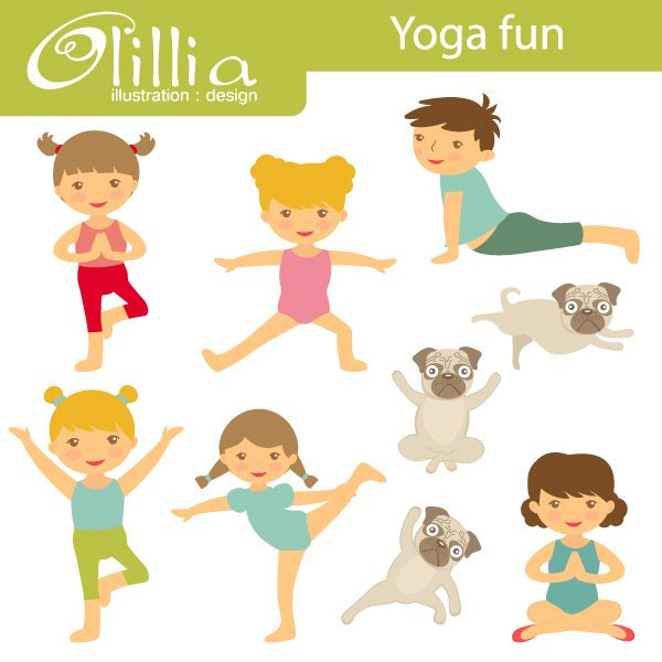 Yoga fun clipart  Olillia Illustration    Mygrafico