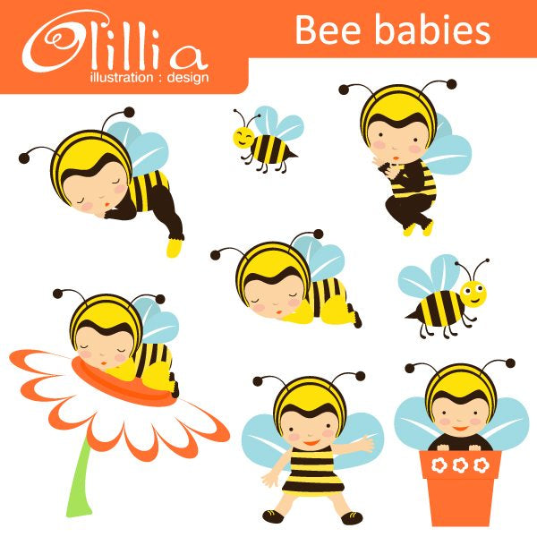 Bee Baby Clipart  Olillia Illustration    Mygrafico