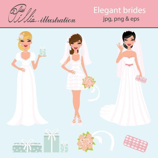 Elegant brides clipart  Olillia Illustration    Mygrafico