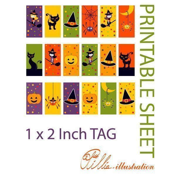 Halloween 1x 2 inch TAG printables  Olillia Illustration    Mygrafico